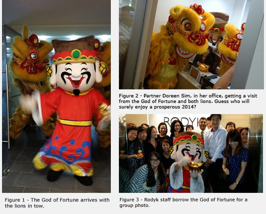 Three images of Rodyk The God of Fortune.  One with lions in tow, one with lions and Partner Doreen Sim and one with staff.