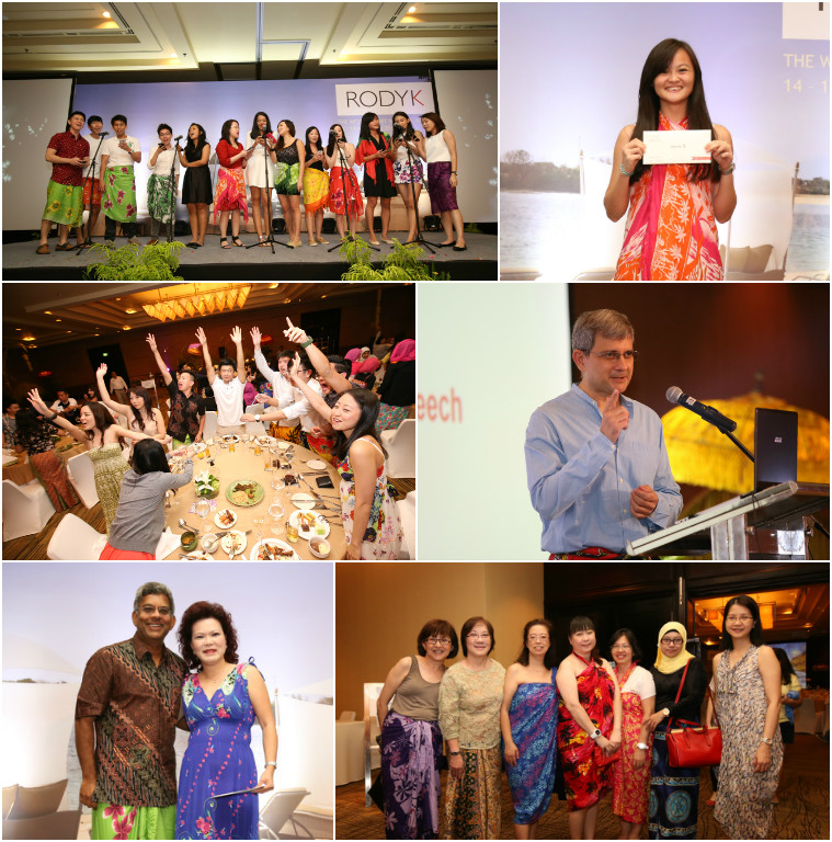 6 images from the celebration. Top left is staff on stage wearing traditional sarongs. Center left is staff at dinner raising their hands. Bottom left is a couple persumably prize winners. Top right is a young lady displaying her prize envelope. Center right is a speark, Phillip Jeyaretnam, and bottom right is 7 ladies, in their sarongs.