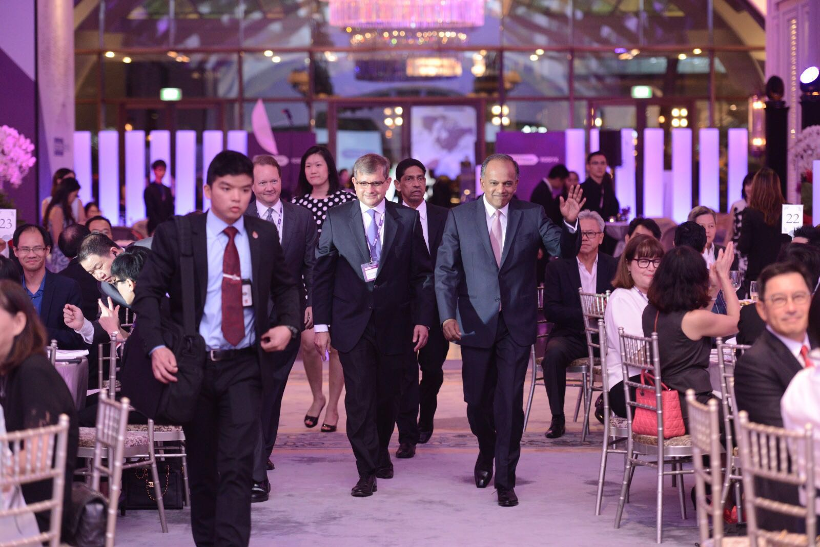Dentons Global Chairman, Joe <p>Andrew and Philip Jeyaretnam, SC, Dentons Rodyk Regional CEO walking in with Guest-of-Honour, Minister of Home Affairs and Law, Mr K Shanmugam